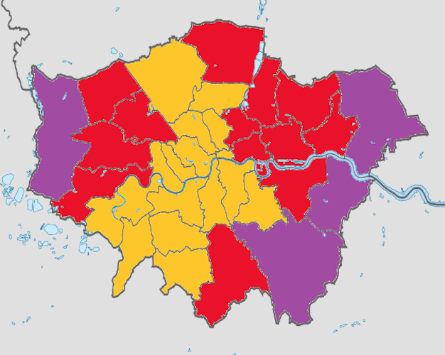 Map Of London Showing Boroughs.European Elections 2019 The Big Swings And Subtler Shifts Within
