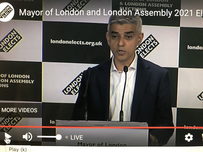 Sadiq Khan wins second term as London Mayor and pledges to build bridges for national recovery