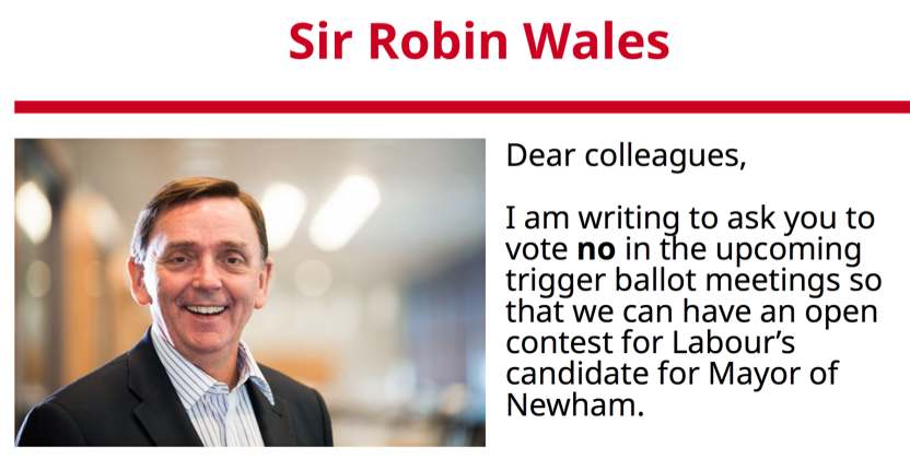 Drama in Labour Newham mayoral candidate selection as Robin Wales urges 'open selection'